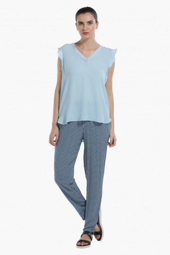 Sleeveless Top with V-Neck