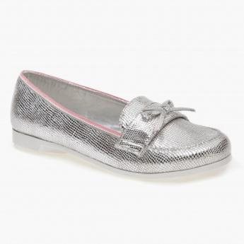 Textured Slip-on Shoes with Bow Accents