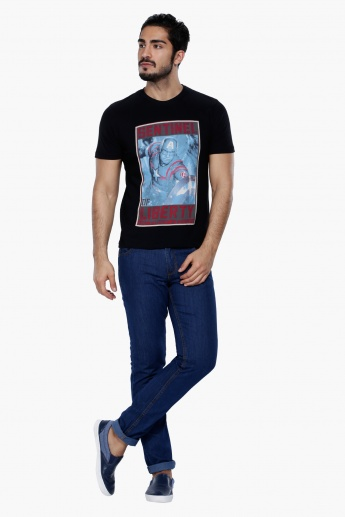 Captain America Printed T-Shirt with Short Sleeves and Round Neck