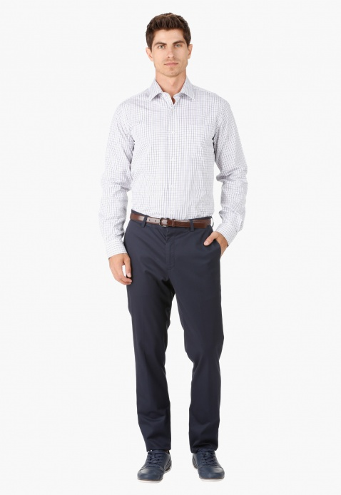 Formal Cotton Trouser with Flat Front in Slim Fit