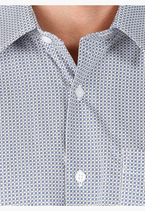 Formal Printed Cotton Shirt with Long Sleeves in Regular Fit