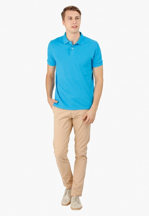 Basic Pique Polo T-shirt With Short Sleeves