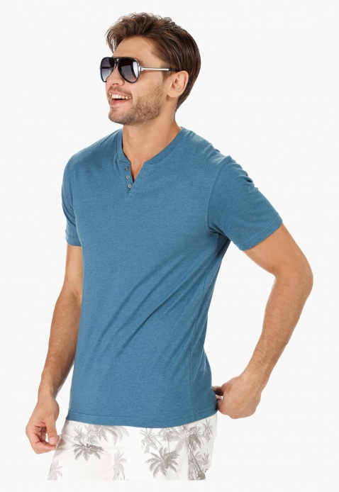 Henley Neck Cotton T-Shirt with Short Sleeves in Slim Fit
