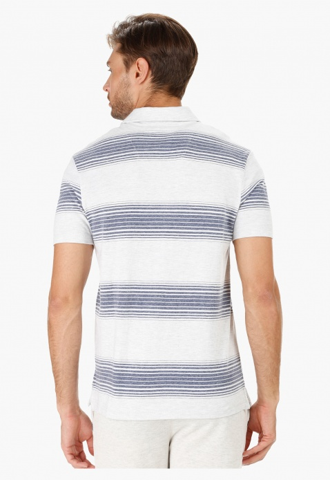 Striped Polo Neck T-Shirt with Short Sleeves in Regular Fit