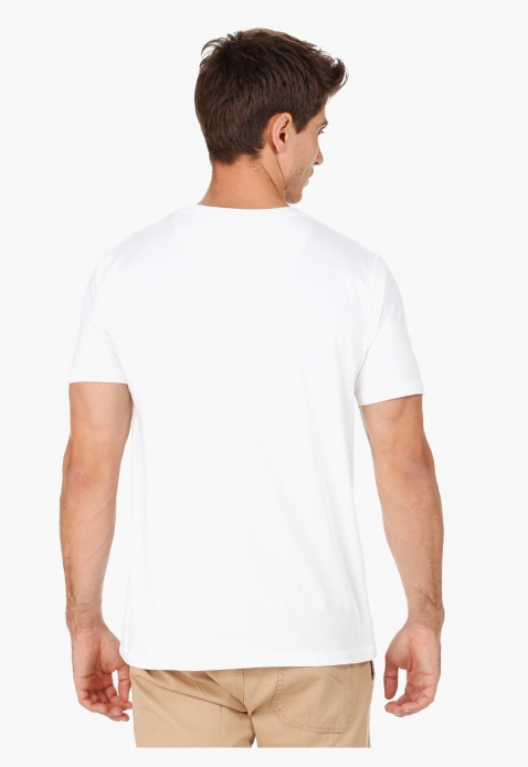 Printed Crew Neck Cotton T-Shirt with Short Sleeves in Regular Fit
