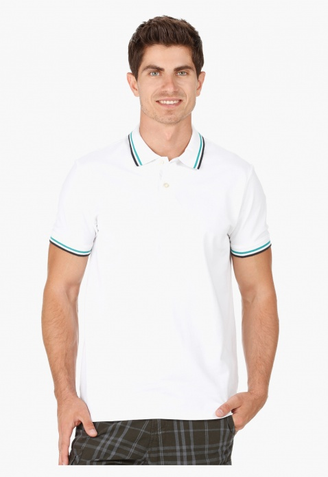 Cotton Polo Neck T-Shirt with Short Sleeves in Regular Fit