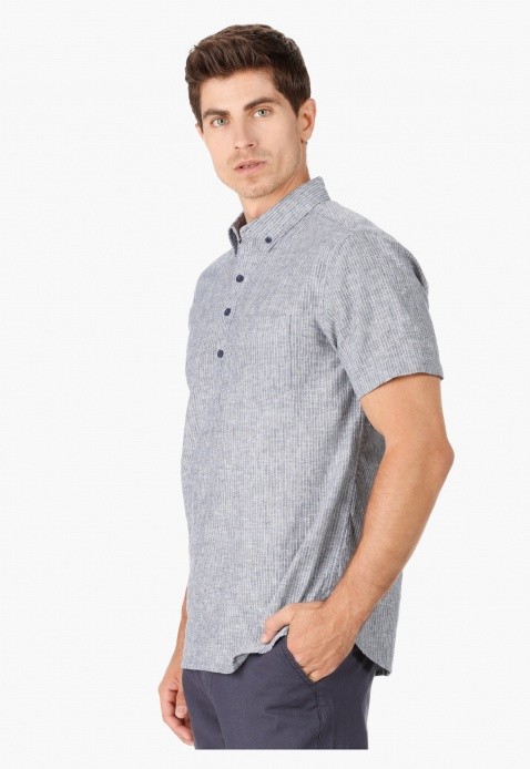 Striped Collar Neck Casual Shirt with Short Sleeves in Regular Fit