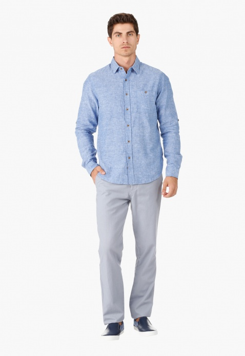 Casual Shirt with Long Sleeves and Collar Neck in Regular Fit