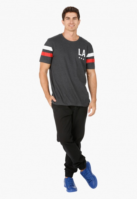 Crew Neck Cotton T-Shirt with Mesh Print on Sleeves and Long Length in Slim Fit