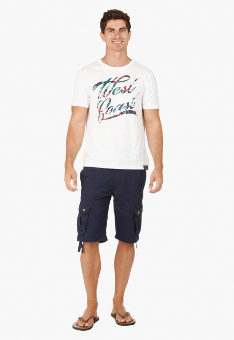 Crew Neck Cotton T-Shirt with Print in Slim Fit