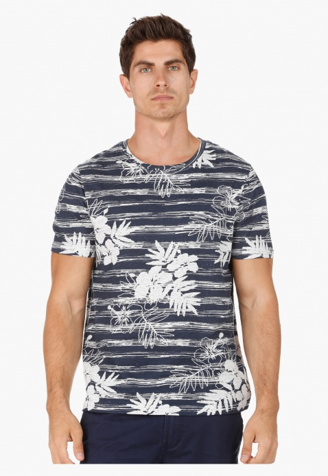 Crew Neck Cotton T-Shirt with All Over Tropical Print in Slim Fit