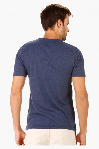 T-Shirt with Henley Neck and Printed Pocket