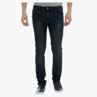 Mid-Rise Overwashed Denims in Skinny Fit