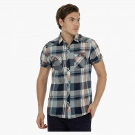 Chequered Cotton Shirt with Short Sleeves in Slim Fit