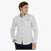 Long-Sleeved Cotton Shirt with All Over Print in Slim Fit