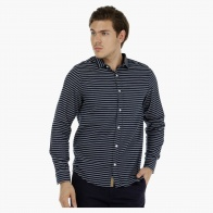 Herringbone Cotton Shirt with Long Sleeves and Stripes in Slim Fit
