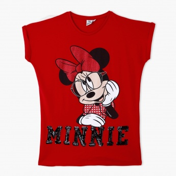 Minnie Mouse Print T-Shirt with Round Neck