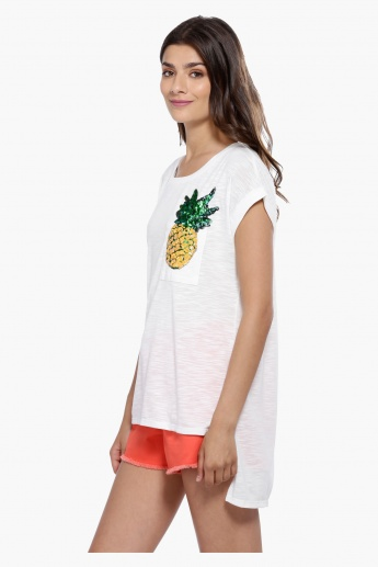 Pineapple Sequin Detail T-Shirt with High-Low Hem and Cap Sleeves
