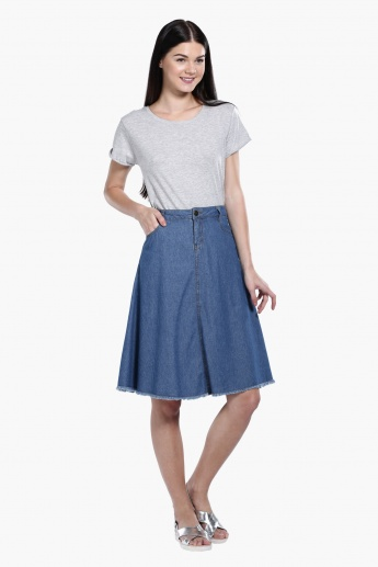 Midi Denim Skirt with Button Closure | Skirts | Regular | Women ...
