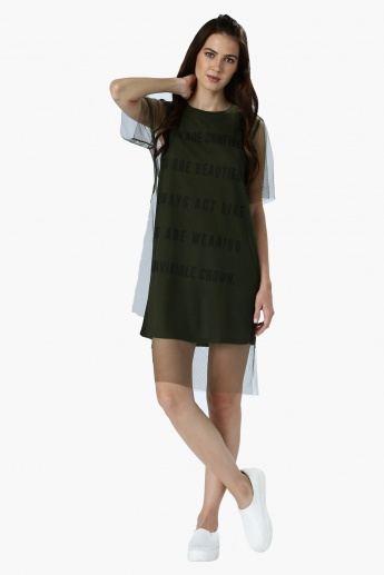 Short Sleeves Dress with Mesh Layer
