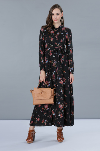 Floral Print Long Sleeves Maxi Dress