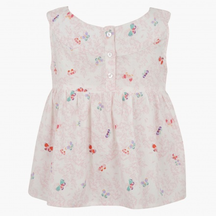 Butterfly Print Sleeveless Blouse