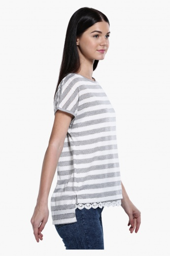 Striped Double Layer Top with Lace Detail at Hem