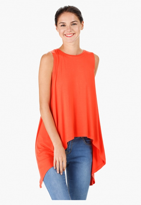 Sleeveless Tunic with Round Neck and Open Back
