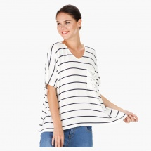 Wide V-Neck Tunic with Short Sleeves and Striped Print