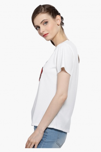 Embroidered T-Shirt with Tie Up Hem and Cap Sleeves