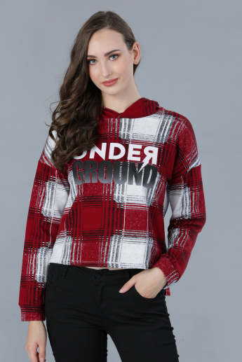 Chequered Long Sleeves Top with Hood