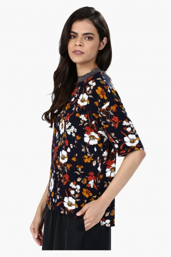 Floral Print Short Sleeves Top