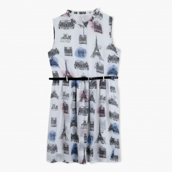 Printed Sleeveless Dress with Belt
