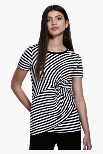 Striped Top with Short Sleeves in Regular Fit