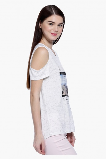 Cold Shoulders Top with V-Neck and Regular Fit