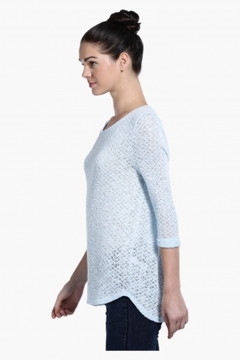 Knitted Lace Round Neck Top with 3/4 Sleeves
