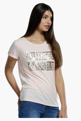 Sequinned Short Sleeves T-Shirt in Regular Fit