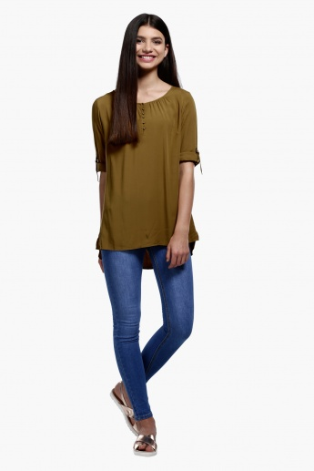 Round Neck Top with High Low Hem and Roll Up Sleeves with Tabs