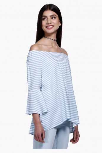 Striped Top with 3/4 Sleeves in Regular Fit