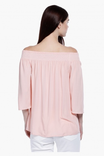 3/4 Sleeves Off Shoulder Top in Regular Fit