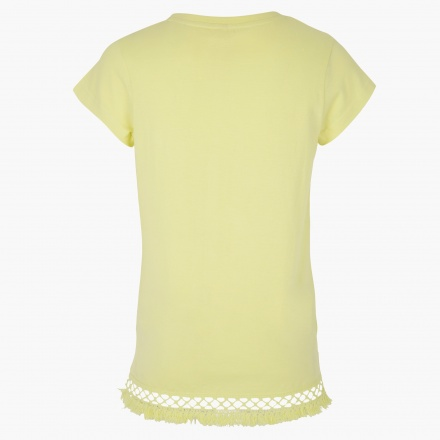 Mesh-embellished T-shirt with Short Sleeves