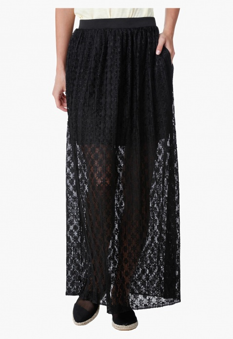 Lace Maxi Skirt with Elasticised Waistband