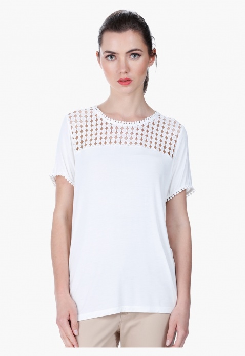 Lace-embellished Round Neck Top