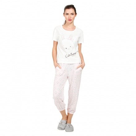 Cat Print T-shirt and Pyjama Set