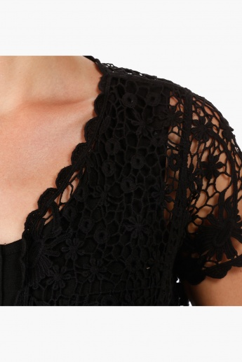 Cotton Crochet Shrug with Short Sleeves