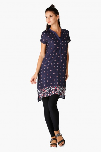 Printed Tunic with Short Sleeves and Side Slits