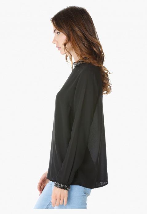 Neck and Cuff Embellished Top with Long Sleeves