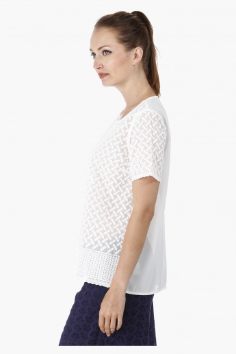 Round Neck Embroidered Top with Short Sleeves and Scalloped Hems