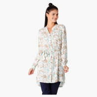 Printed Shirt Tunic with Long Sleeves and Belt