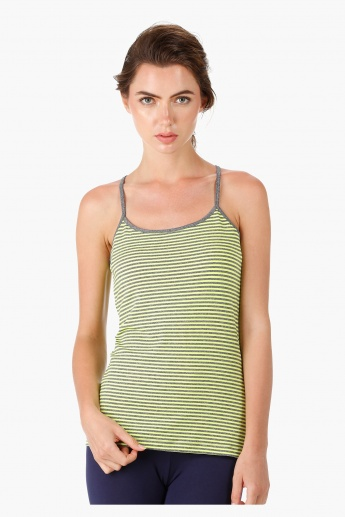 Scoop Neck Striped Tank Top with Racer Back in Comfort Fit